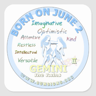6月2日の誕生日-ジェミニ スクエアシール