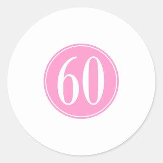 #60ピンクの円 ラウンドシール