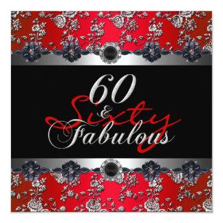 60及びすばらしい第60誕生会の銀の赤 13.3 スクエアインビテーションカード