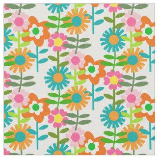 60年代のスタイルの花 ファブリック