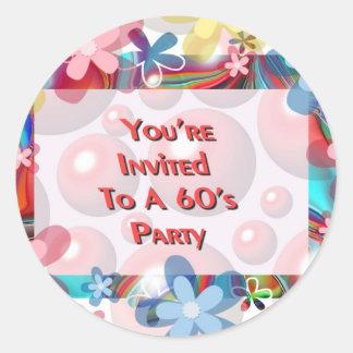 60年代のパーティーへの招待されました ラウンドシール