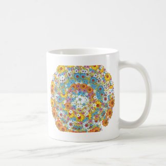 60年代のヴィンテージの花の花模様 コーヒーマグカップ