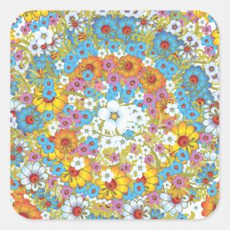 60年代のヴィンテージの花の花模様 スクエアシール