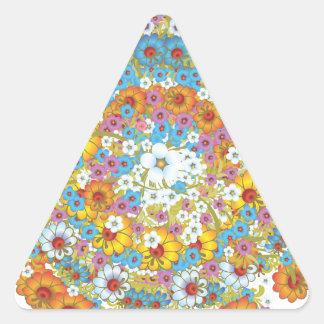 60年代のヴィンテージの花の花模様 三角形シール