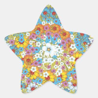 60年代のヴィンテージの花の花模様 星シール