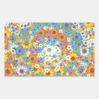 60年代のヴィンテージの花の花模様 長方形シール