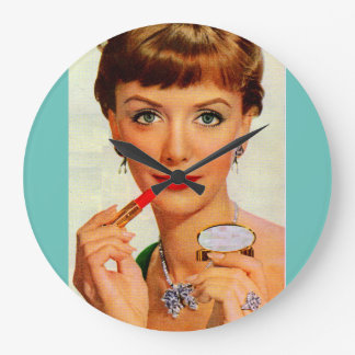 60年代の口紅の女性 ラージ壁時計
