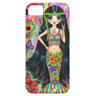 60年代、70年代のサイケデリックなヒッピーの人魚の女の子 iPhone SE/5/5s ケース