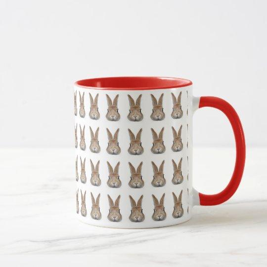 60羽のうさぎの顔 マグカップ