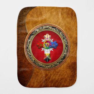 [600]赤及び金ゴールドのバラ色の十字(ばら色のCroix) バープクロス