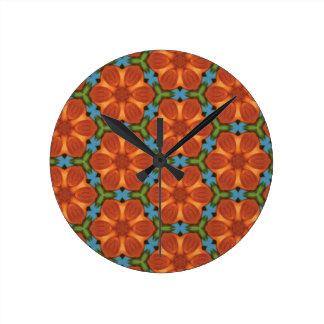 60sデザイン01六十年代の花の花によってタイルを張られる繰り返し ラウンド壁時計