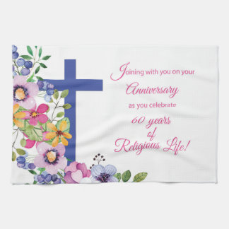 60th Anniversary, Nun, Religious Life Cross キッチンタオル