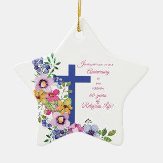 60th Anniversary, Nun, Religious Life Cross セラミックオーナメント