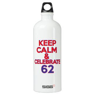 62歳の誕生日のデザイン ウォーターボトル