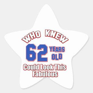 62歳の誕生日のデザイン 星シール