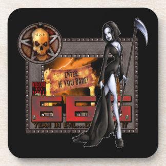 666の堅いプラスチックコースター(6) コースター