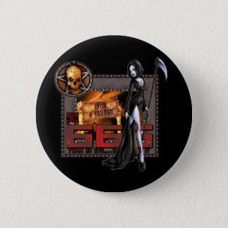666 -ボタン 5.7CM 丸型バッジ