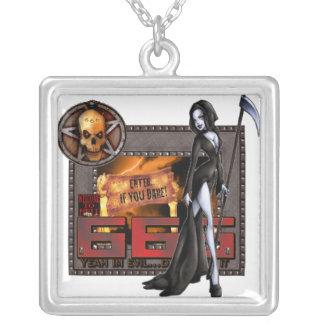 666 -純銀製のネックレス シルバープレートネックレス