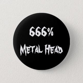 666%Metal頭部 5.7cm 丸型バッジ