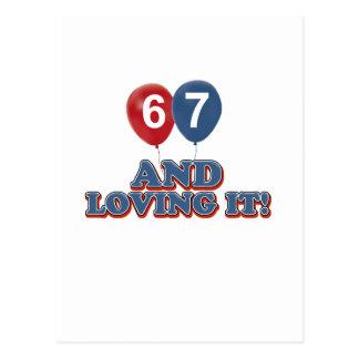 67歳の誕生日のデザイン ポストカード