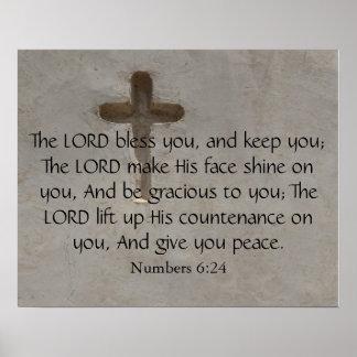 6:24に十字との感動的な聖書の詩と番号を付けます ポスター