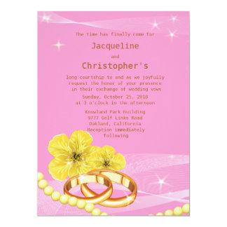 """6.5x8.75の""""ピンク及び黄色い花のリングの結婚式の招待 カード"""