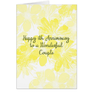 6th Wedding Anniversary Card Yellow Flowers カード