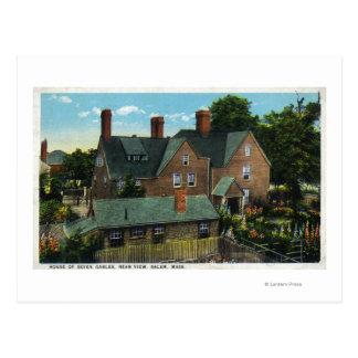 7つの切り妻の家の背面図 ポストカード