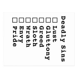 7つの大罪のチェックリスト-ブランク(0000000) ポストカード