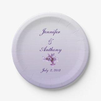 7インチの紙皿を結婚する花の薄紫の花 ペーパープレート