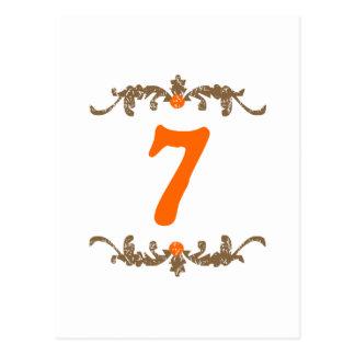 #7オレンジ及びブラウンスクロール ポストカード