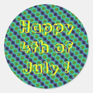 7月のステッカーのクラシックな円形のステッカーの幸せな第4 ラウンドシール