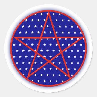 7月の五芒星のステッカーの ラウンドシール