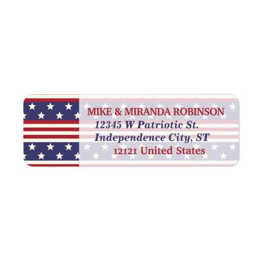 7月の愛国心が強い星条旗米国のの第4旗 返信用宛名ラベル