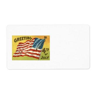 7月の挨拶の米国の旗のワシ第4 ラベル