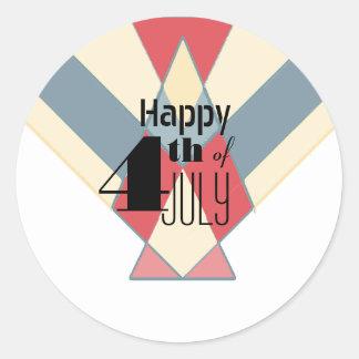 7月の旗|のパーティのステッカーのヴィンテージ第4 ラウンドシール