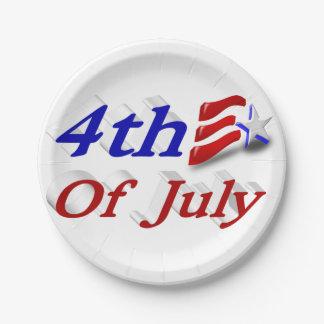 7月の星の第4は及び3D帽子の紙皿を縞で飾ります ペーパープレート