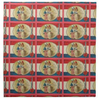 7月の米国市民ヴィンテージのプリントの布のナプキンの第4 ナプキンクロス