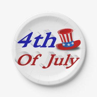 7月の米国市民3Dの帽子の紙皿の第4 ペーパープレート