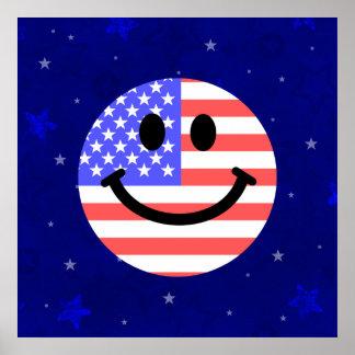 7月の米国旗のスマイリーフェイスの第4 ポスター