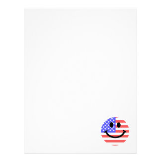 7月の米国旗のスマイリーフェイスの第4 レターヘッド