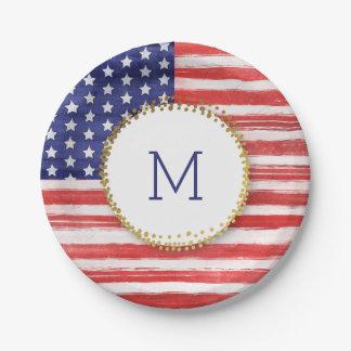 7月の米国旗の金ゴールドの点のモノグラムの第4 ペーパープレート