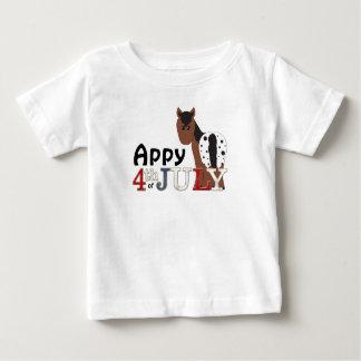 7月の総括的なAppaloosaの馬のかわいいAppy第4 ベビーTシャツ