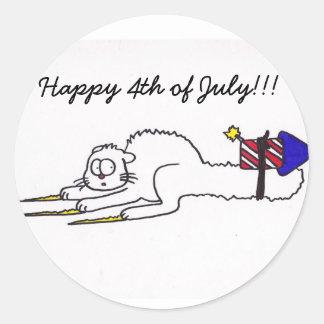 7月の花火の子猫の独立記念日の幸せな第4 ラウンドシール