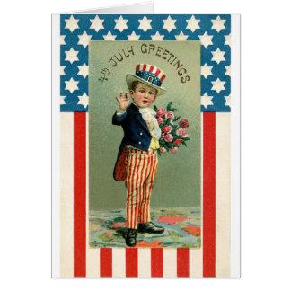 7月の若い米国市民のヴィンテージ第4 カード
