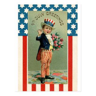 7月の若い米国市民のヴィンテージ第4 ポストカード