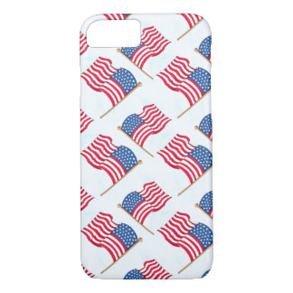 7月の赤白青の米国旗第4 iPhone 8/7ケース
