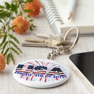 7月第4幸せな米国の文字の旗のグリッターの花火 キーホルダー