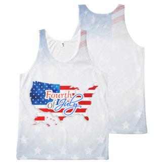 7月第4 -米国の旗か地図 オールオーバープリントタンクトップ