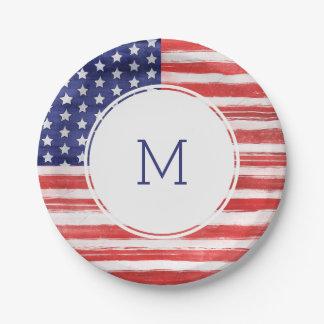 7月米国の旗の第4は及びストライプなモノグラム主演します ペーパープレート